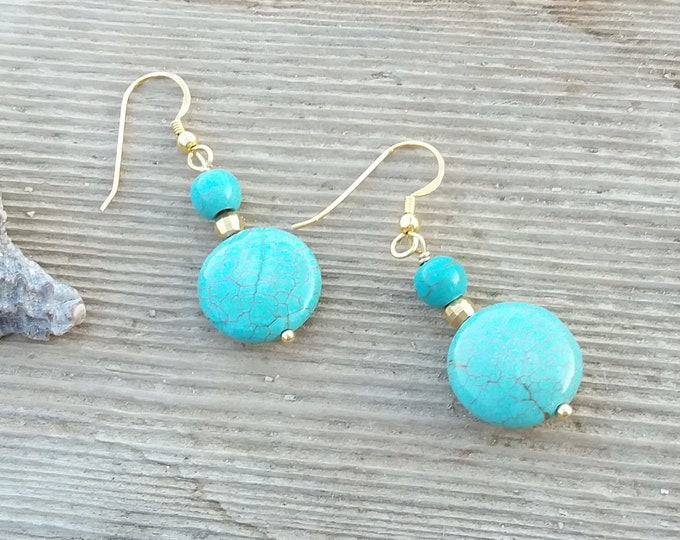 Turquoise Earrings Gold, Turquoise Beads Earrings, Delicate Drop Earrings, 925 Sterling Silver, 14k Gold Filled, Gift for BFF, Beachwear