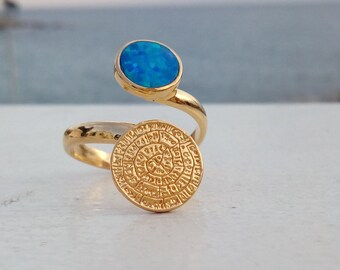 Sterling Silver Aqua Opal Ring with Phaistos Disc, or 14k Gold Filled, Greek Ring, Adjustable Ring, Δαχτυλίδι με Οπάλιο και Δίσκο Φαιστού