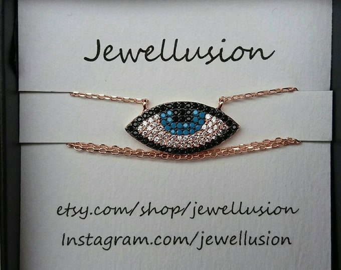 Evil Eye Necklace, Cubic Zirconia, Rose Gold Filled Chain, Blue Evil Eye Necklace, Protection Charm, Boho Jewellery, Birthday Gift