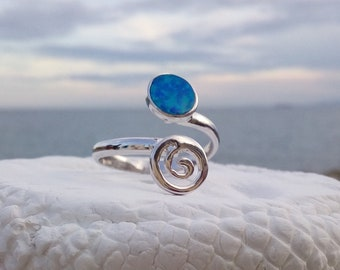 Sterling Silver Aqua Opal Spiral Ring, or 14k Gold Filled, Adjustale Stacking Ring, Greek Ring, Αρχαιοελληνικό δαχτυλίδι με σπείρα