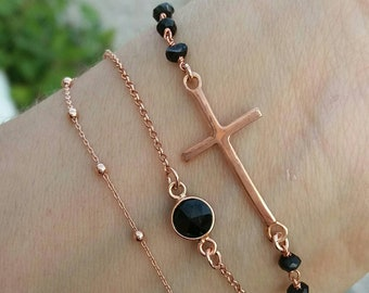 Layered Sideways Cross, Rosary&Satellite Chain Bracelets Set