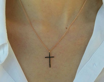 Black Cross Necklace, Rose Gold Filled Necklace, Black Cubic Zirconia Cross, Dainty Cross Necklace, Religious Jewellery, Chic Collier