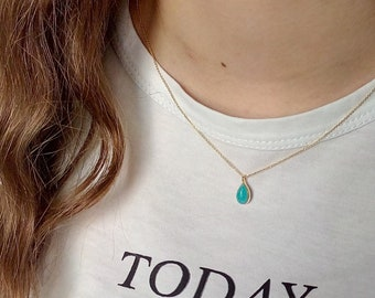 Rose Gold Drop Turquoise Necklace