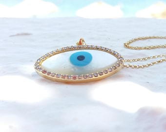 Rose Gold Zircon Evil Eye Necklace
