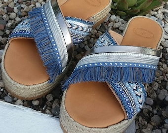 Blue Sandals, Boho Chic Sandals, Handmade Greek Genuine Leather Sandals, Silver Shoes, Decorated Women Platforms, Free Express Shipping