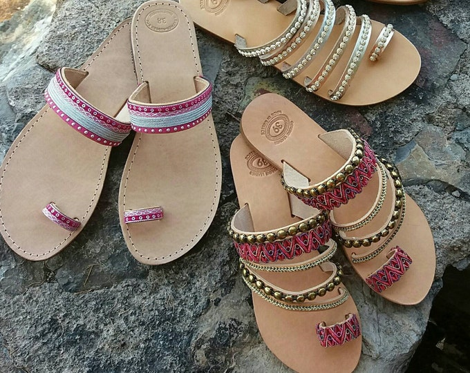 Greek Leather Sandals, Decorated Sandals, Boho Chic Sandals, Slip On Sandals, Genuine Leather Sandals, Greek Sandals, Summer Sandals