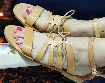Greek Sandals, Chic Handmade Sandals, Genuine Leather Sandals, Ancient Greek Sandals, Brown Leather Sandals, Flat Sandals