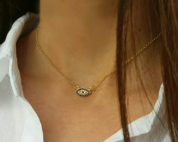 Gold Evil Eye Necklace - Dainty Blue Evil Eye Necklace - 14k Gold Filled - Best Friend Gift - Birthday Gift