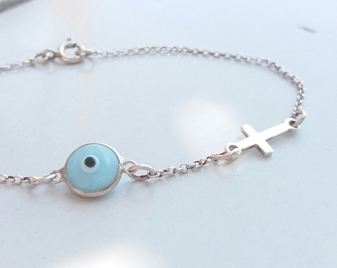 Blue Evil Eye Cross Bracelet, 925 Sterling Silver, Dainty Bracelet, Everyday Bracelet, Protection Bracelet, Birthday Gift, Baptism Gift