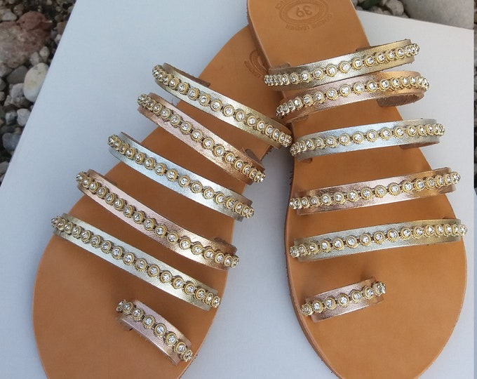 Luxurious Wedding Sandals, Greek Sandals, Chic Sandals, Genuine Leather Sandals, Ancient Greek Sandals, Decorated Sandals Handmade in Greece