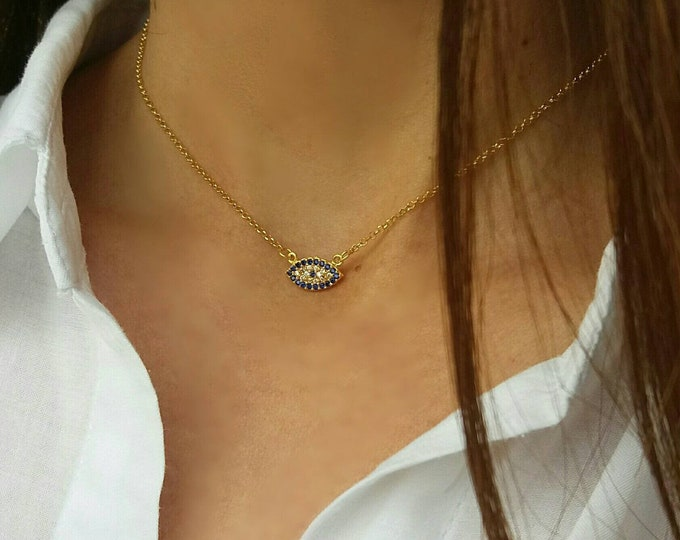 Featured listing image: Zircon Evil Eye Necklace