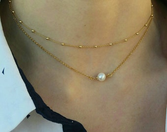 Layered Pearl&Dew Drop Chain Necklaces Set