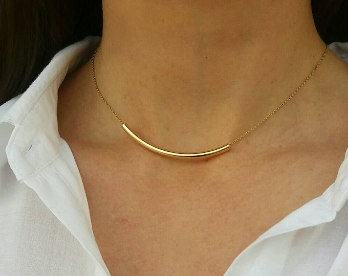 Tube Necklace, Friendship Necklace, Gold Layered Necklace, 14k Gold Filled, Dainty Necklace, Choker, Birthday Gift