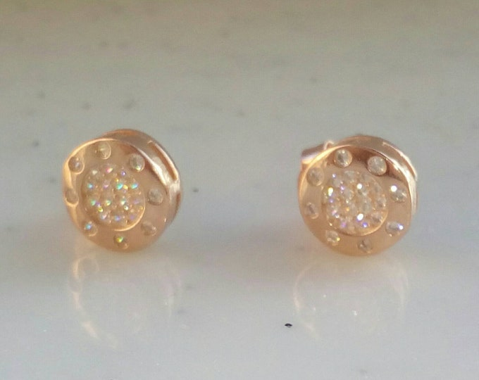 Dainty Stud Earrings Rose Gold Filled, Round Earrings, Cubic Zirconia, Anniversary Gift, Wedding Earrings, Gifts for Her