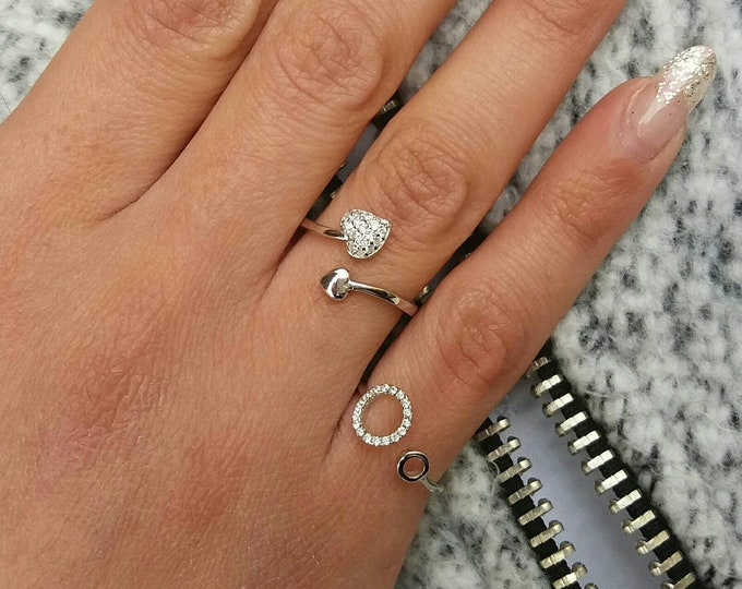 Circle of life ring, silver ring, Cubic zirconia, everyday ring, stacking ring,  dainty ring, birthday gift, anniversary ring