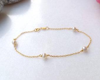 Solid Gold Pearl Bracelet