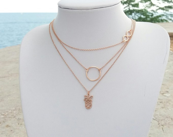 Layered Necklace Set of 3,  Hoop Necklace, Infinity Necklace, Pineapple Necklace, Rose Gold Filled, Karma Jewelry, Gift for Her
