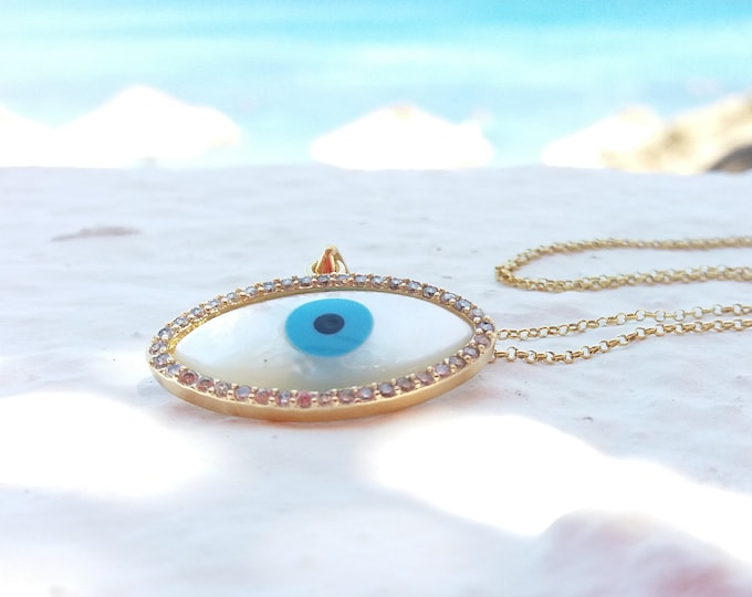 Evil Eye Necklace, 14k Gold Filled, Cubic Zirconia, Blue Evil Eye, Protection Necklace, Greek Jewellery,
