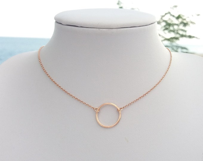 Hoop Necklace, Dainty Hoop Rose Gold Filled Necklace, Circle Necklace, Gift for Her, Girlfriend Gift, Minimalist Necklace