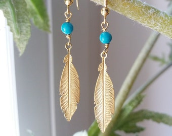Feather Earrings, 14k Gold Filled Dangle Earrings, Everyday Jewelry, Dainty Turquoise Earrings, Girlfriend Gift, Chic Bijoux