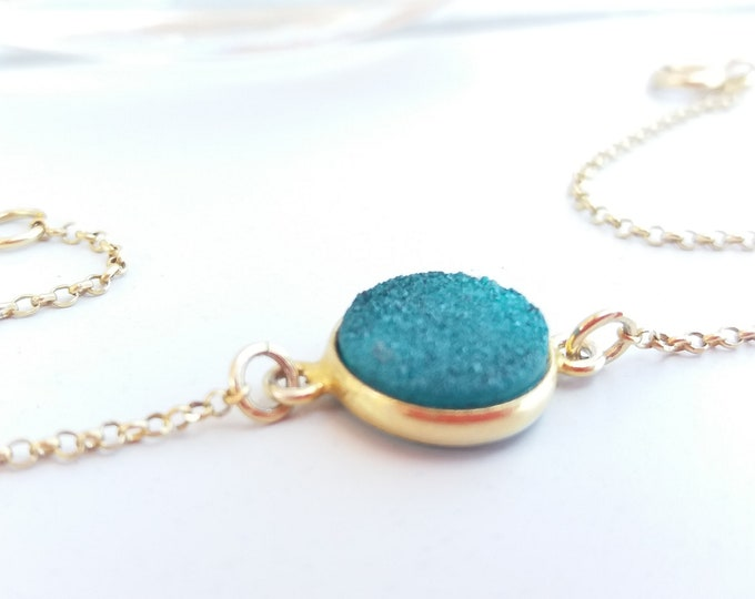 Druzy Turquoise Bracelet, 14k Gold Filled Bracelet, Layered Bracelet, Dainty Turquoise Bracelet, Best Friend Gift, Birthday Gift, Gemstones