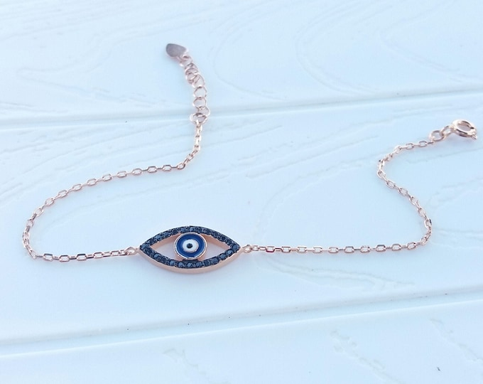 Rose Gold Evil Eye Bracelet, Cubic Zirconia Bracelet, Chic Black Evil Eye, Everyday Bracelet, Protection Jewellery, Anniversary Gift, Chic
