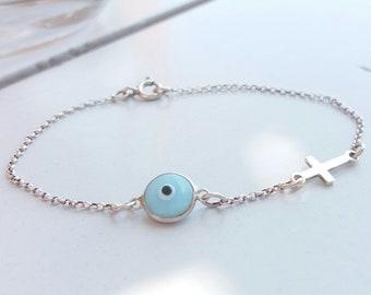 Light Blue Evil Eye Cross Bracelet