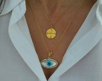 Big Evil Eye Necklace, Double Gold Necklaces, Christian Coin Necklace, Constantine Necklace, Gold Layered Necklaces Set, Circle Necklace