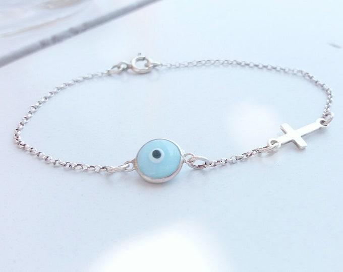Blue Evil Eye Cross Bracelet, Dainty Sterling Silver Bracelet, Everyday Bracelet, Protection Bracelet, Minimalist Bracelet, Baptism Gift