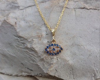 14k Solid Gold Evil Eye Necklace, Dainty Blue 14k Gold Necklace, Greek Mati, Protection Charm, Chic Collier