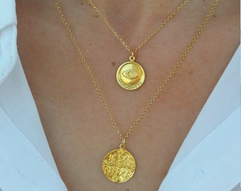 Double Gold Coin Necklaces, Gold Evil Eye Necklace, Christian Disc Necklace, Constantine Necklace,Gold Layered Necklaces Set,Circle Necklace