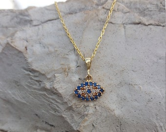 Solid Gold Evil Eye Necklace 14k, Dainty Blue 14k  Solid Gold Necklace, Greek Mati, Protection Charm, Chic Collier, Oval Solid Gold Pendant