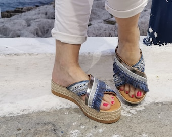 Luxurious Sandals, Sandals Sole,Blue Boho Chic Sandals, Chic Sandals, Silver Shoes, Decorated Women Platforms, Handmade Greek Sandal