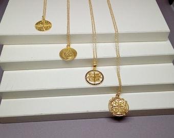 Gold Filled Zircon Christian (Constintinato) Necklace