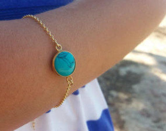 Turquoise Bracelet • Gold Bracelet • Anniversary Gift • Layered Bracelet • Howlite • Best Friend Gift • Gifts For Her