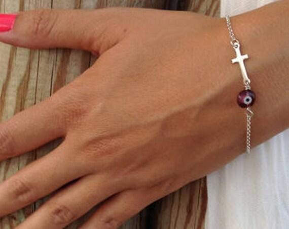 Evil Eye Bracelet Cross, Silver  Bracelet, Sideways Cross Bracelet, Purple Evil Eye, 925 Sterling Silver Cross, Sideways Cross Silver
