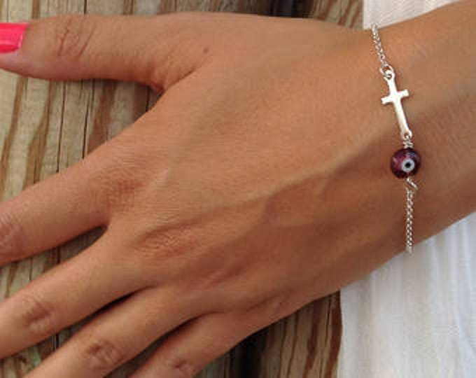 Purple Evil Eye Bracelet Cross, Silver  Bracelet, Sideways Cross Bracelet, Purple Evil Eye, Sterling Silver Cross, Sideways Cross Silver