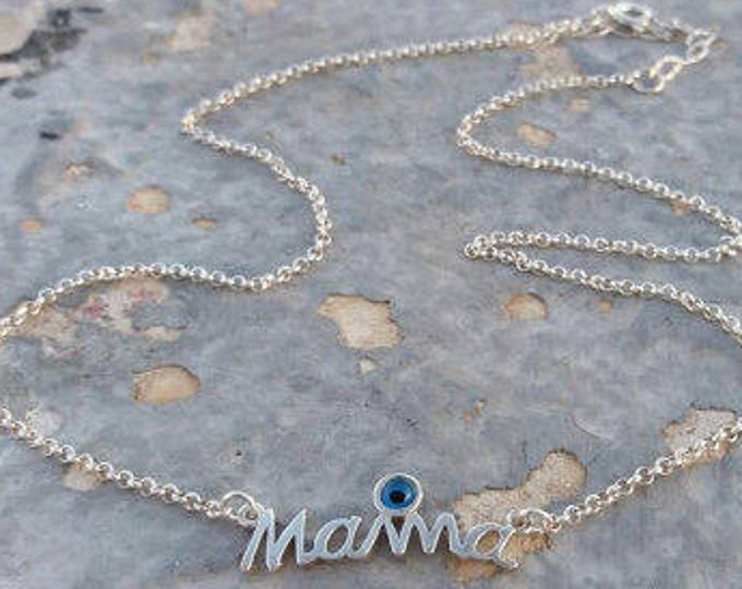 Mama Necklace, Evil Eye Necklace, 925 Sterling Silver, Layered Necklace, Mommy Necklace, Mother Gift, Birthday Gift, Protection Charm