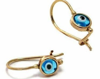 14k Gold Evil Eye Earrings, Solid Gold Earrings, Protection Jewellery, Everyday Blue Evil Eye Earrings,Birthday Gift,Round Evil Eye Earrings