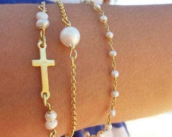 Pearl Bracelet Gold Filled, June Birthstone, Sideways Cross Bracelet, Rosary Pearl, Best Friend Gift, 14k Gold Filled, Fine Pearls, Chic