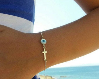 Round Evil Eye Cross Bracelet