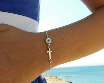 Round Evil Eye Cross Bracelet