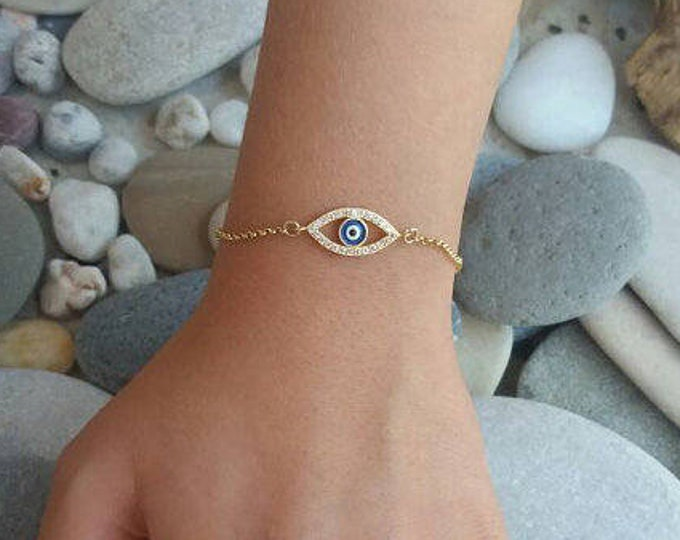 Featured listing image: Blue Zircon Evil Eye Bracelet
