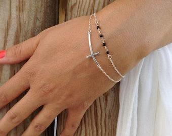 Sideways Cross Bracelet, Beaded Bracelet, Christian Bracelet, Sterling Silver, Onyx Rosary Bracelet,  Birthday Gift, Minimalist Necklace