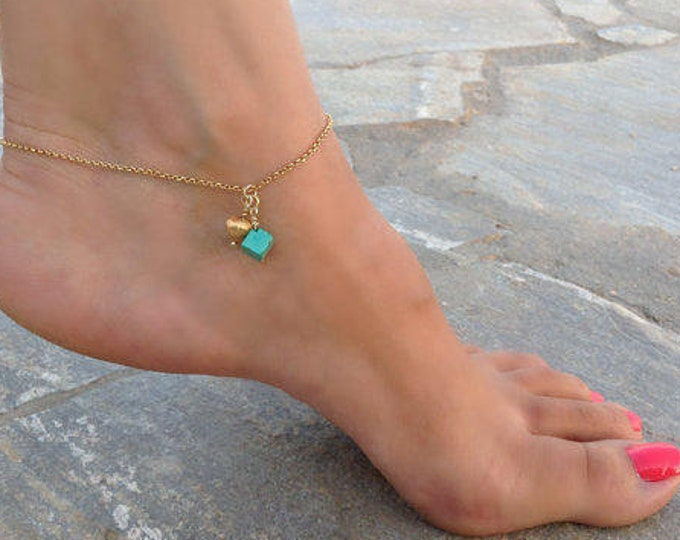 TURQUOISE ANKLET HEART