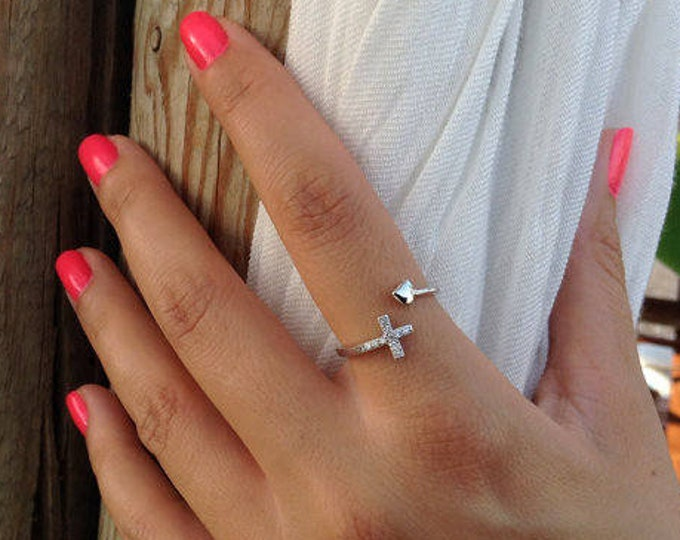 Sideways cross ring, silver ring, engagement ring, zirconia cross ring, promise ring, anniversary gift, everyday ring