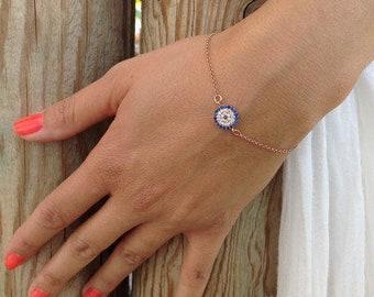 Round Zircon Evil Eye Bracelet