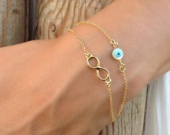 Layered Infinity, Circle Evil Eye Bracelet