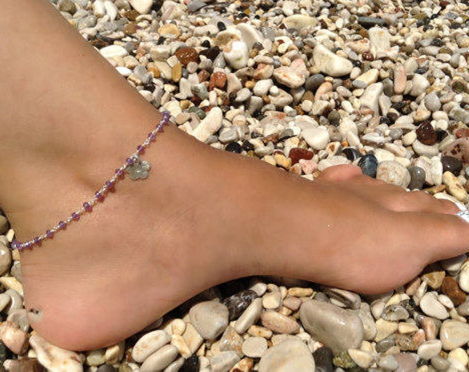 Amethyst Anklet, Purple Rosary Anklet, Gemstone Anklet, 925 Sterling Silver Anklet, Starfish Anklet, Bridesmaid Gift, Beachwear Jewellery