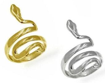 Snake Ring, Serpent Ring, 14k Gold Filled Ring, Sterling Silver Ring, Spiral Snake Ring, Adjustable Ring, Handmade Silver Animal Ring